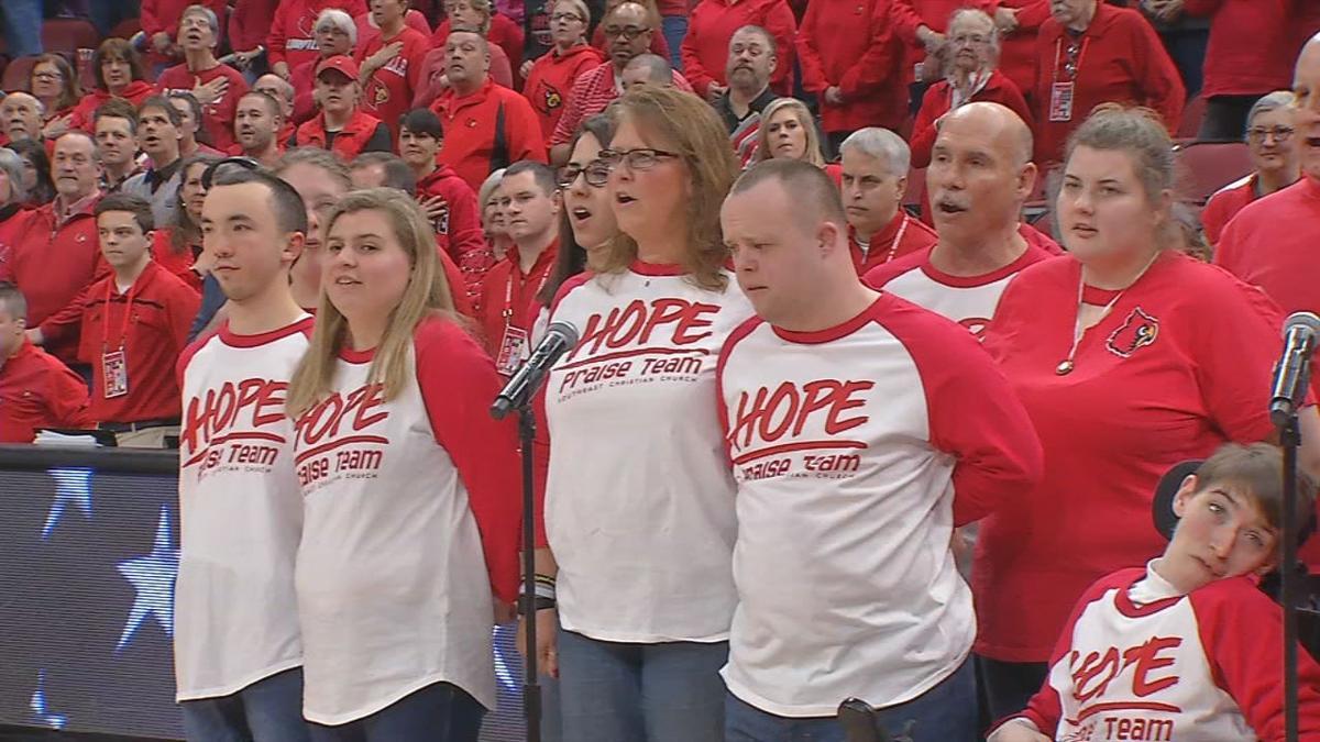 H.O.P.E. disabilities choir sings National Anthem at U of L women's basketball game - Feb. 6, 2020