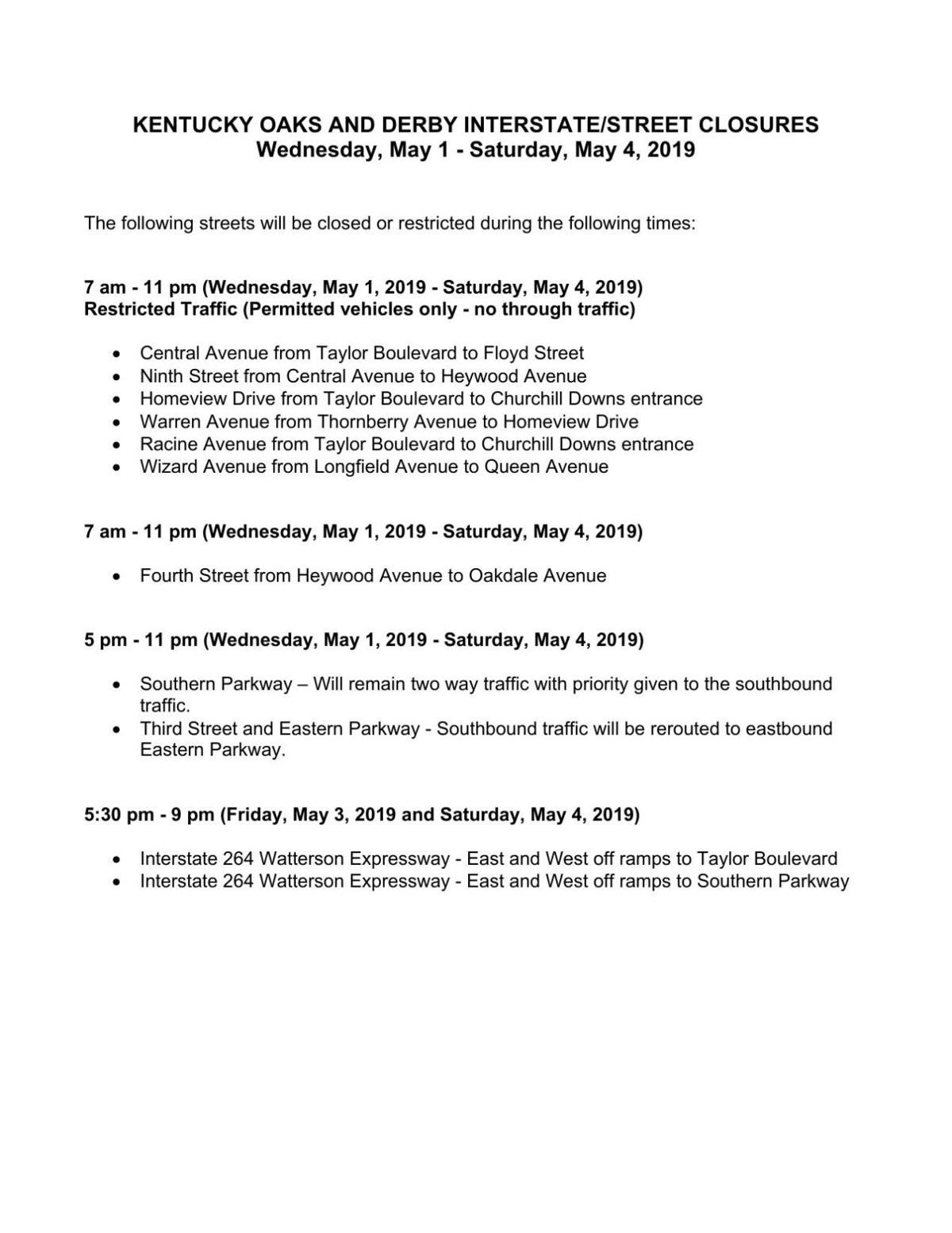 2019 Oaks and Derby street closures
