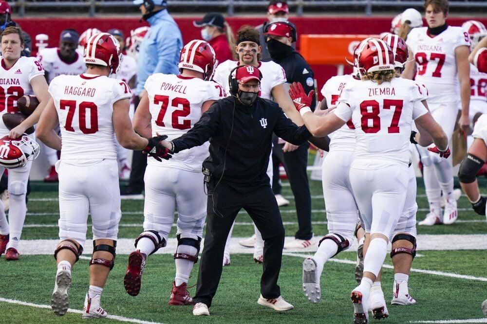 Indiana coach Tom Allen congratulates players