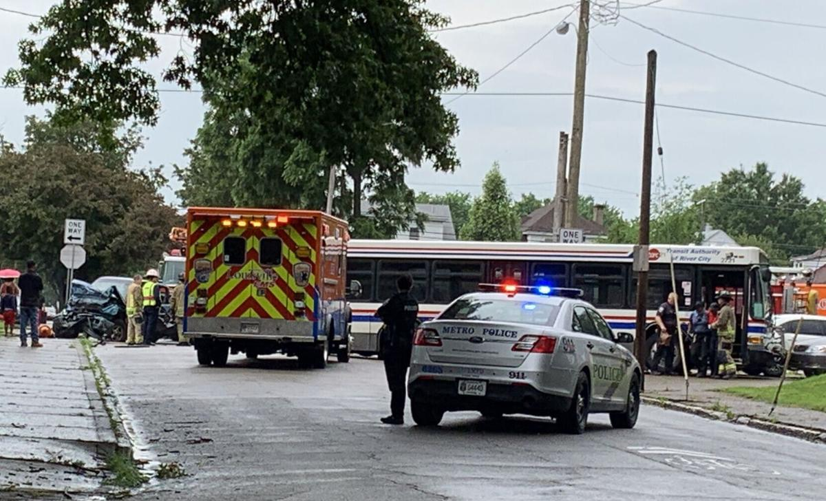 TARC bus crash at South 23rd and West Oak streets (6/8/21)