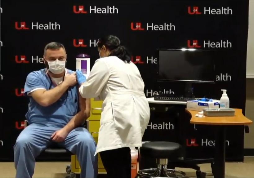 Dr. Jason Smith gets COVID shot