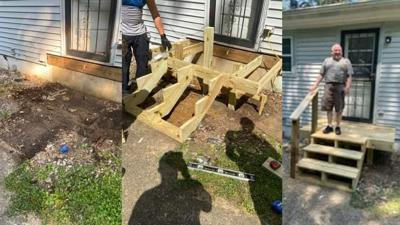 LMPD 3rd Division officers build porch for man