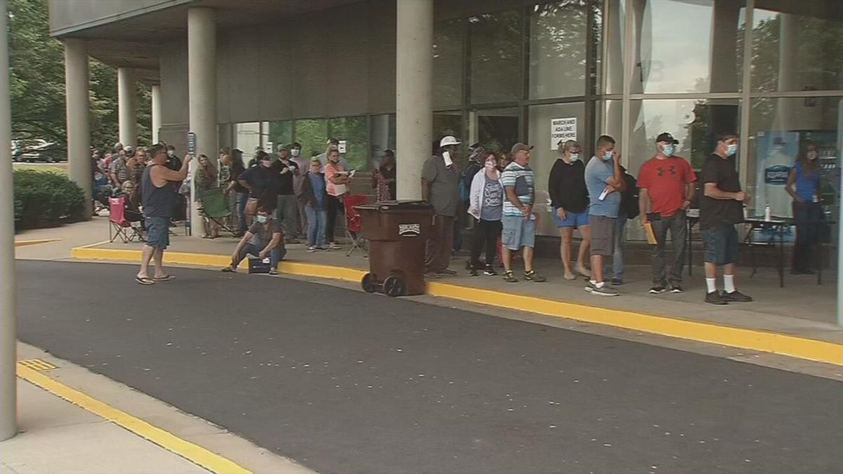 People standing in line for unemployment assistance in Kentucky (generic)
