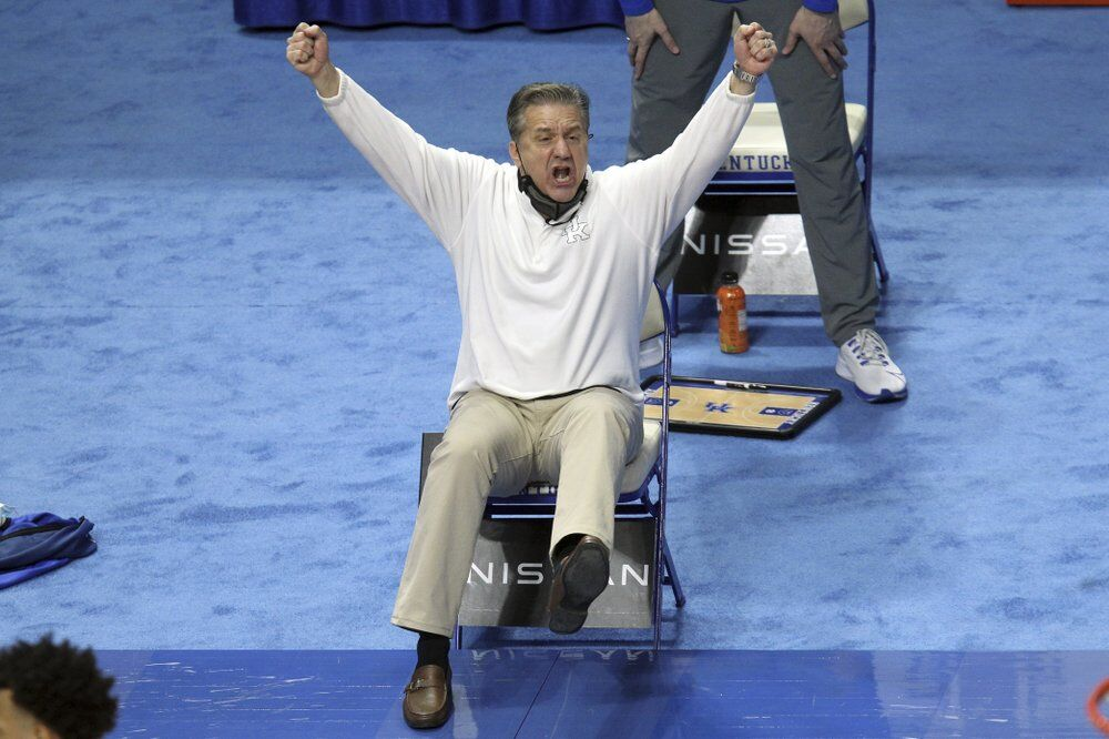 Kentucky head coach John Calipari reacts