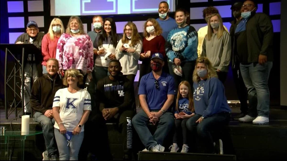 Members of UK's football team deliver donations for flood victims to Community Christian Church in Lee County, Kentucky (March 28, 2021)