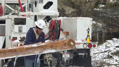 Worker neared downed utility pole