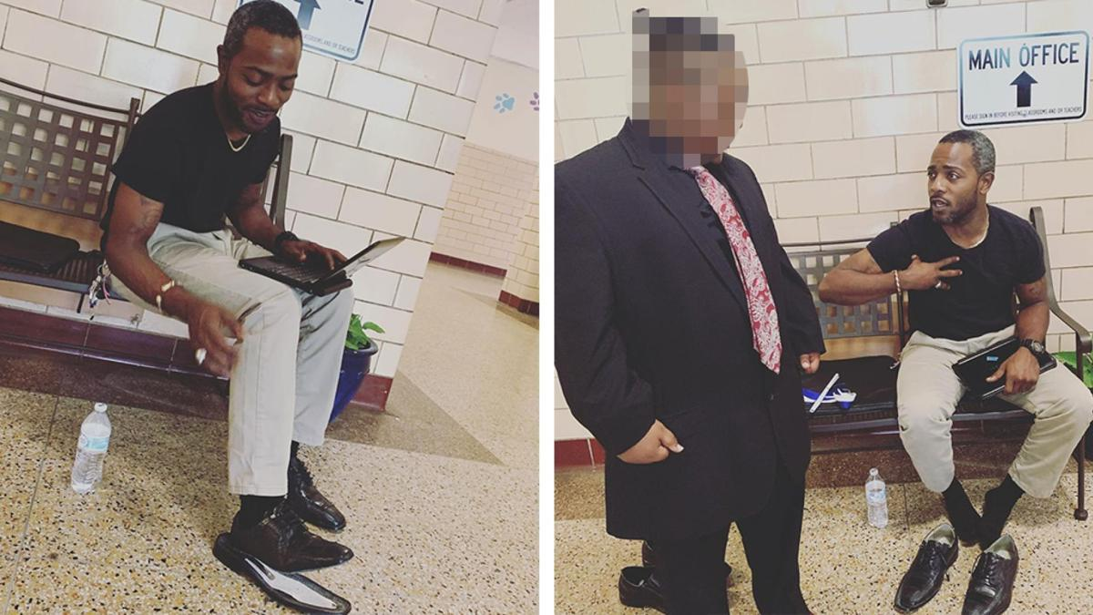 VA Substitute Teacher gives student shoes