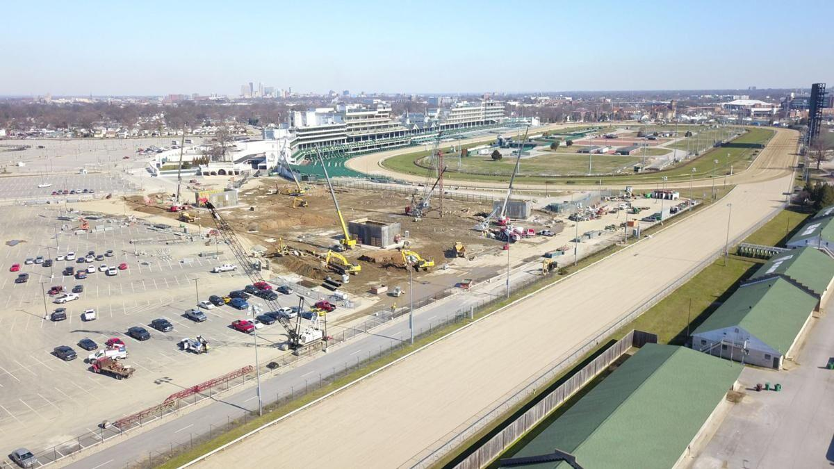 Churchill Downs First Turn construction Feb 2020