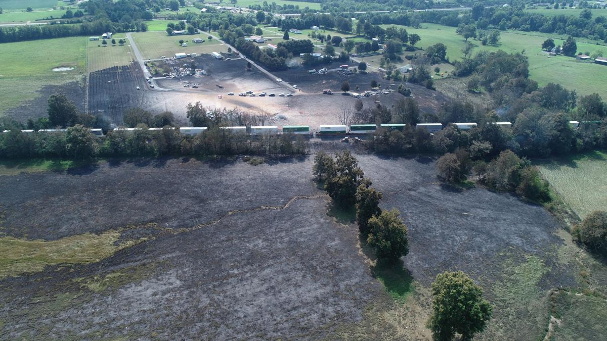 Gas Line Explosion aftermath in Lincoln County - Aerial