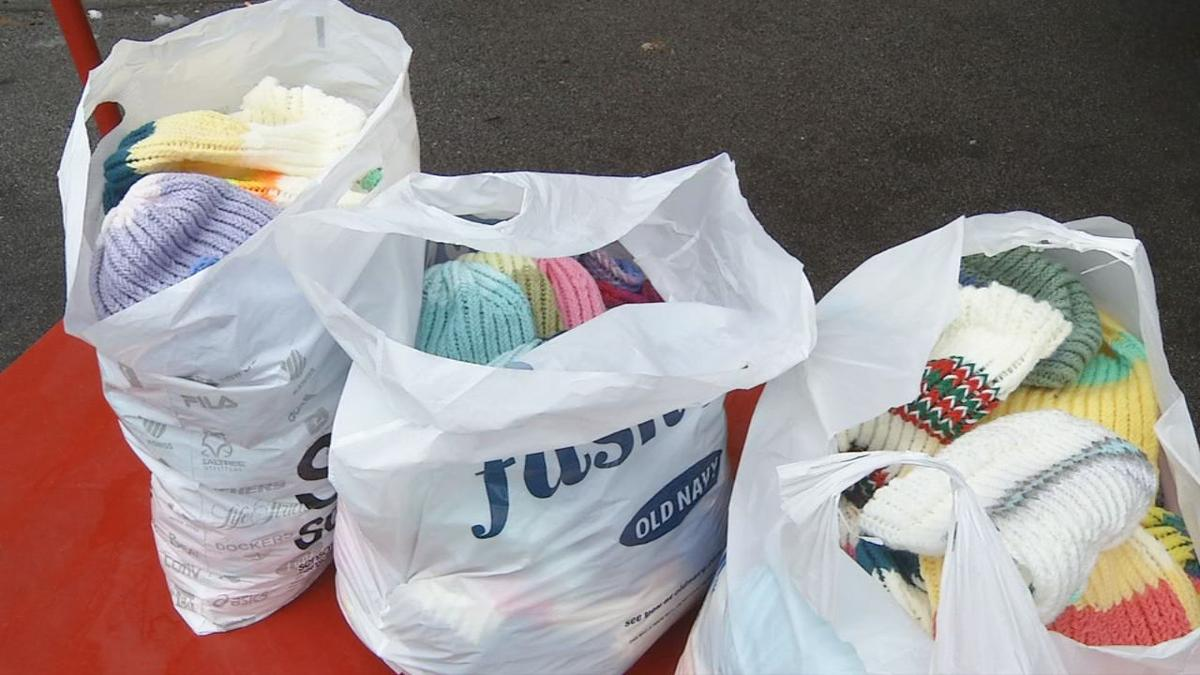 100 hats for homeless at Wayside