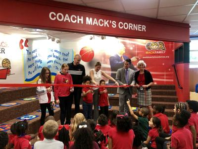 Chris Mack and family at Crum's Elementary