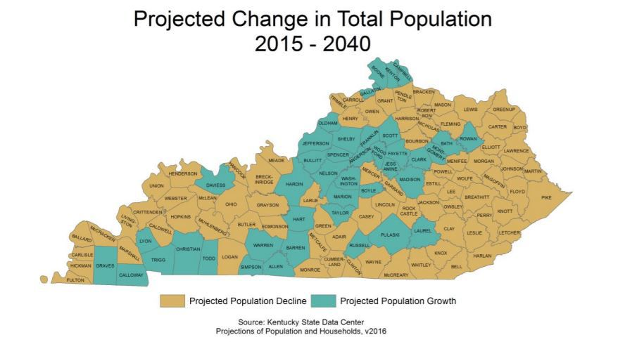 Projected Ky. population change by county, 2015-2040