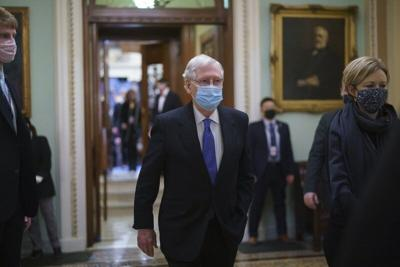 Mitchell McConnell leaves the chamber 2021 AP.jpeg