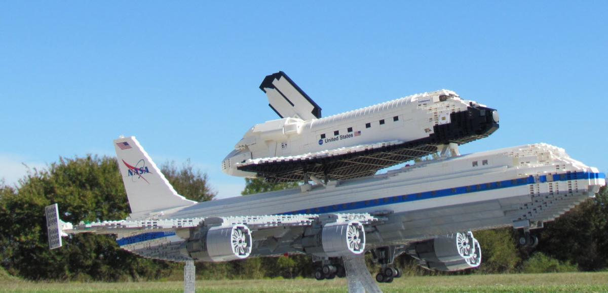 LEGO Space Shuttle Atop Transport Plane
