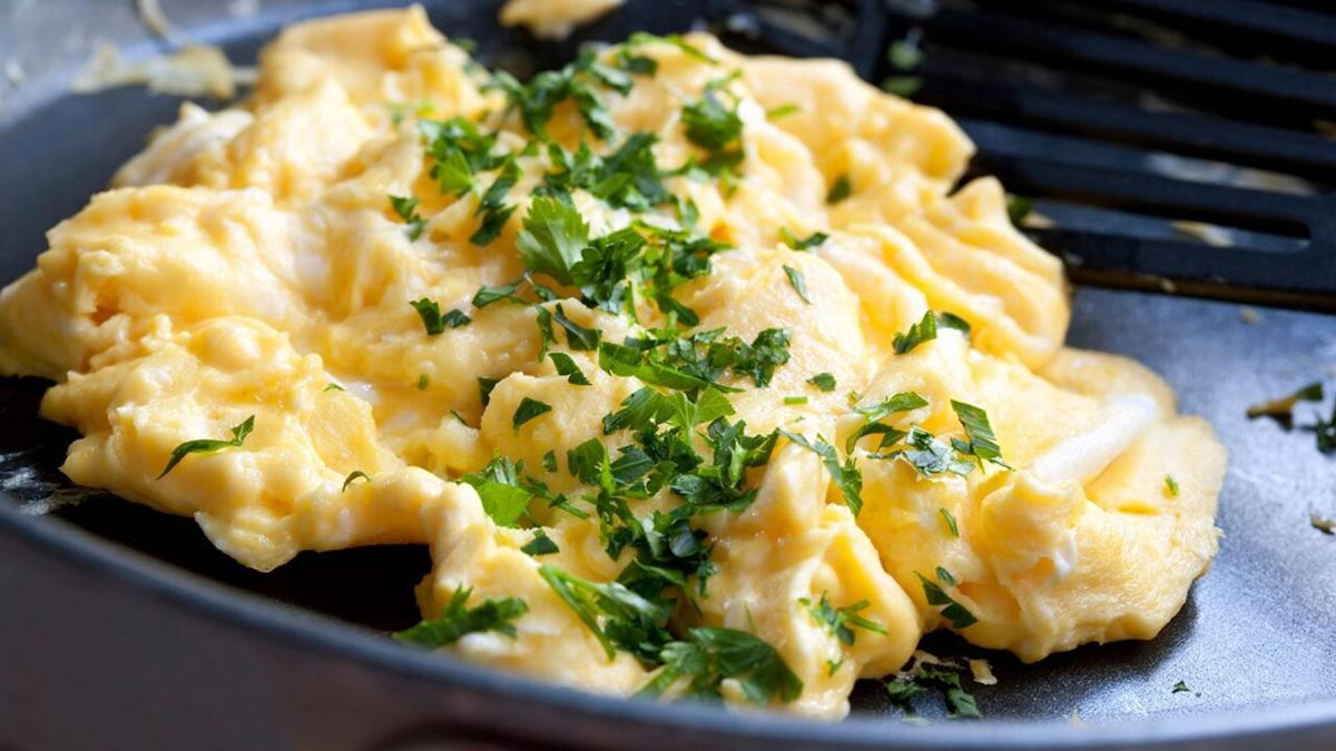 Scrambled Eggs on Plate