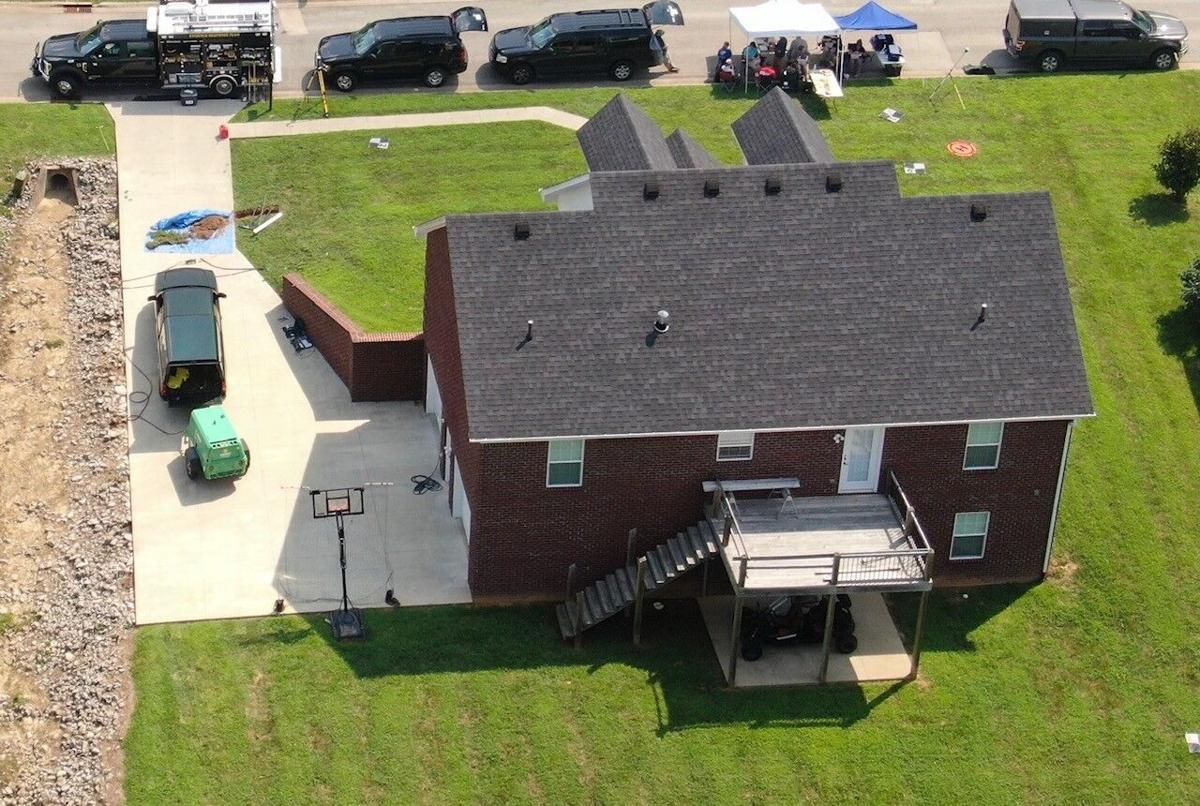 Aerial view of FBI search in Bardstown