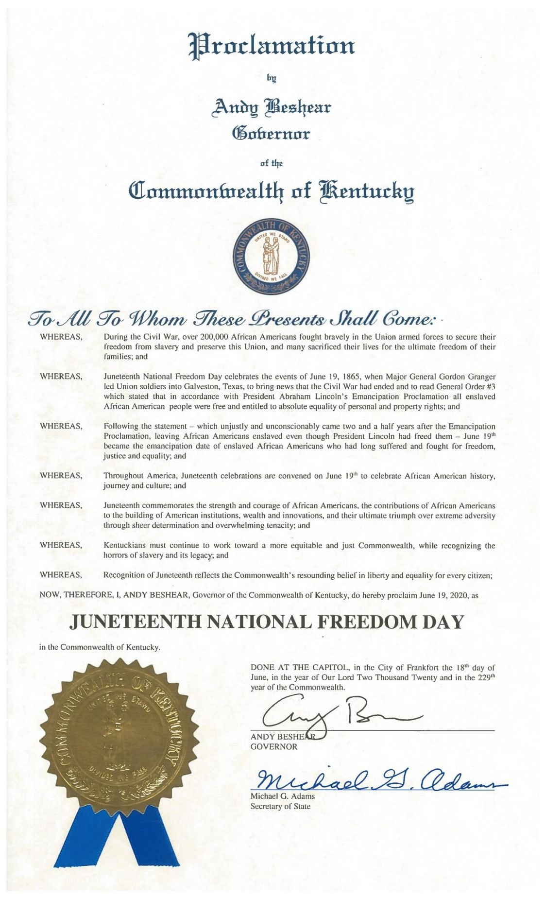 Ky. Governor Juneteenth 2020 Proclamation
