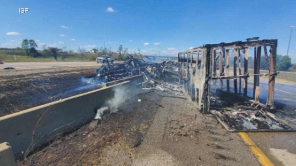 Burned RV on I-65 in Jackson County