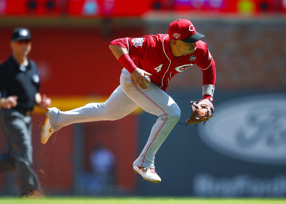 Cincinnati Reds shortstop Jose Iglesias fields a ground ball