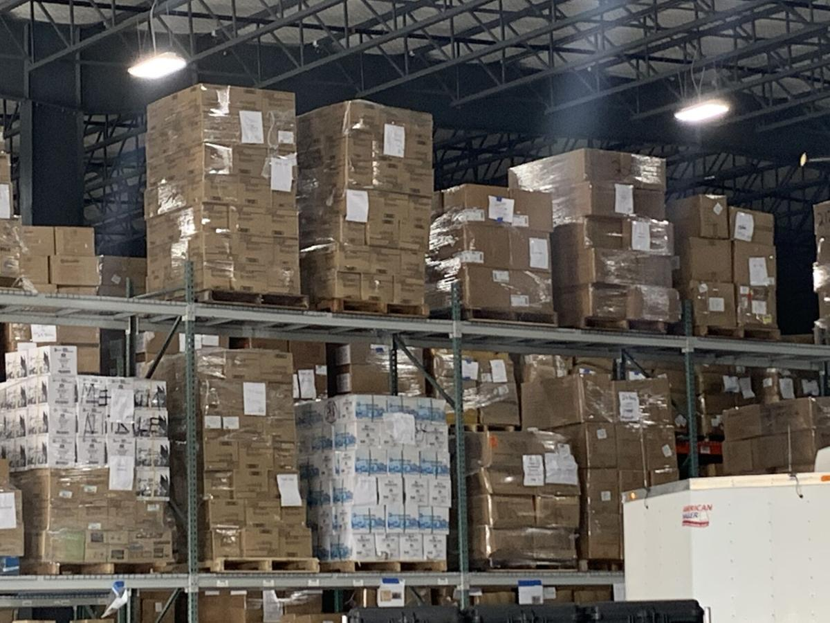 Boxes of PPE at DPH warehouse
