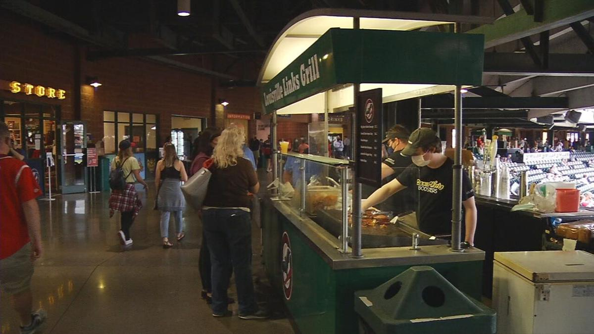 Fans order concessions at Slugger Field during a Bats game