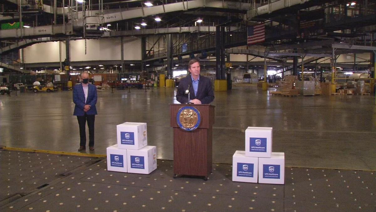 Gov. Beshear speaks to media to UPS Worldport