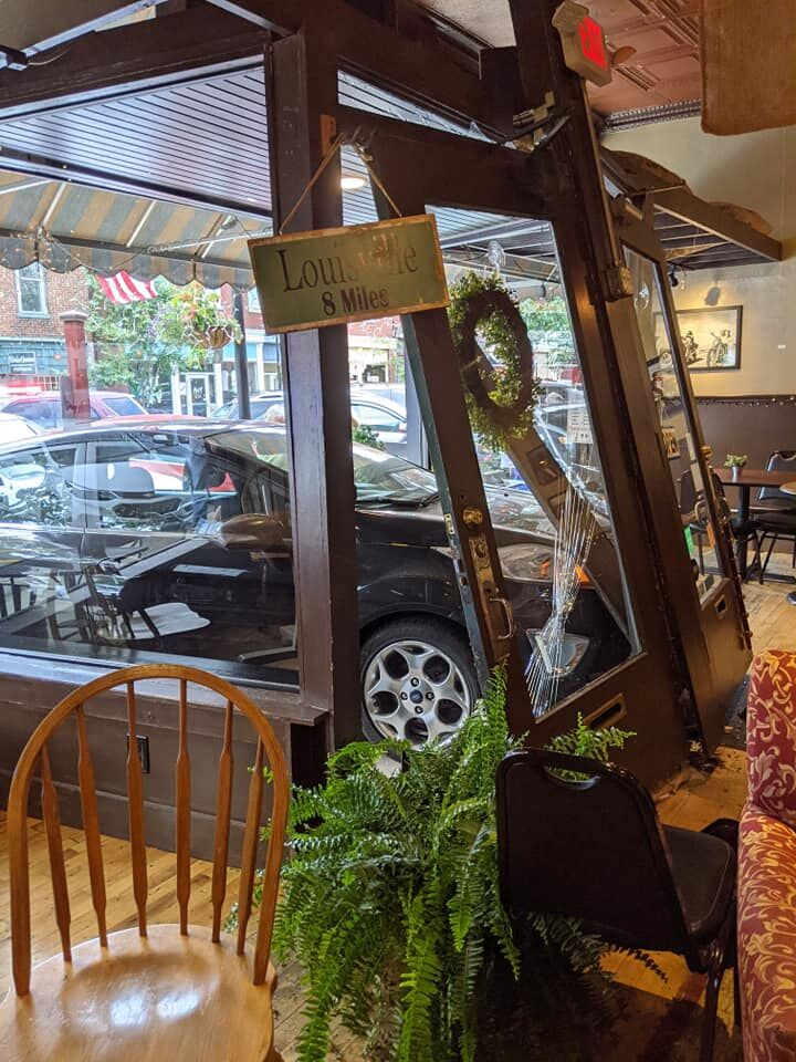 Car crashes into the front of LaGrange Coffee Roasters on June 18, 2021