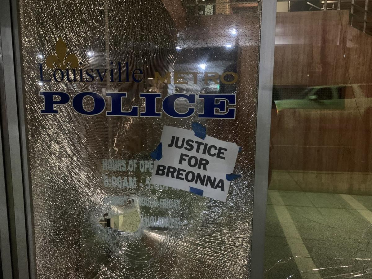 Shattered window of LMPD HQ 5-29-20