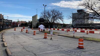 U of L Health's drive-thru COVID-19 testing site in downtown Louisville
