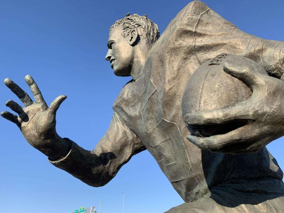 The statue of Paul Hornung outside Slugger Field in Louisville