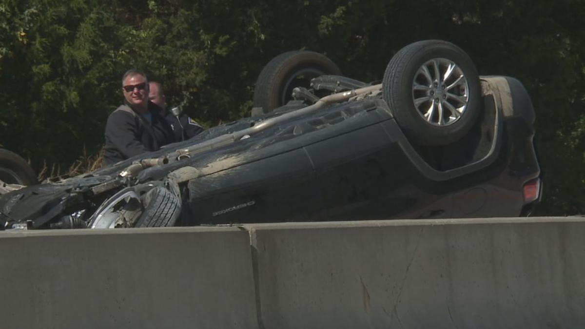 Overturned SUV on I-65 in Jackson County