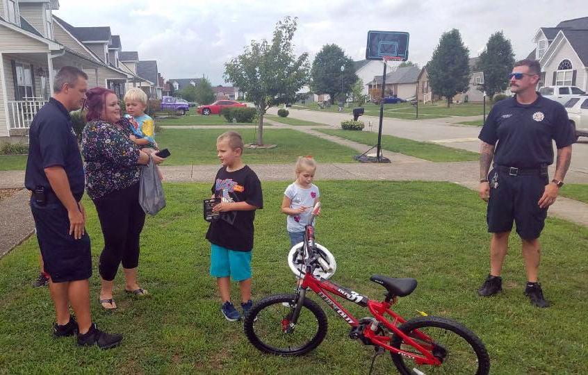 Shepherdsville Fire Department gives boy new bike (Aug. 27, 2019)