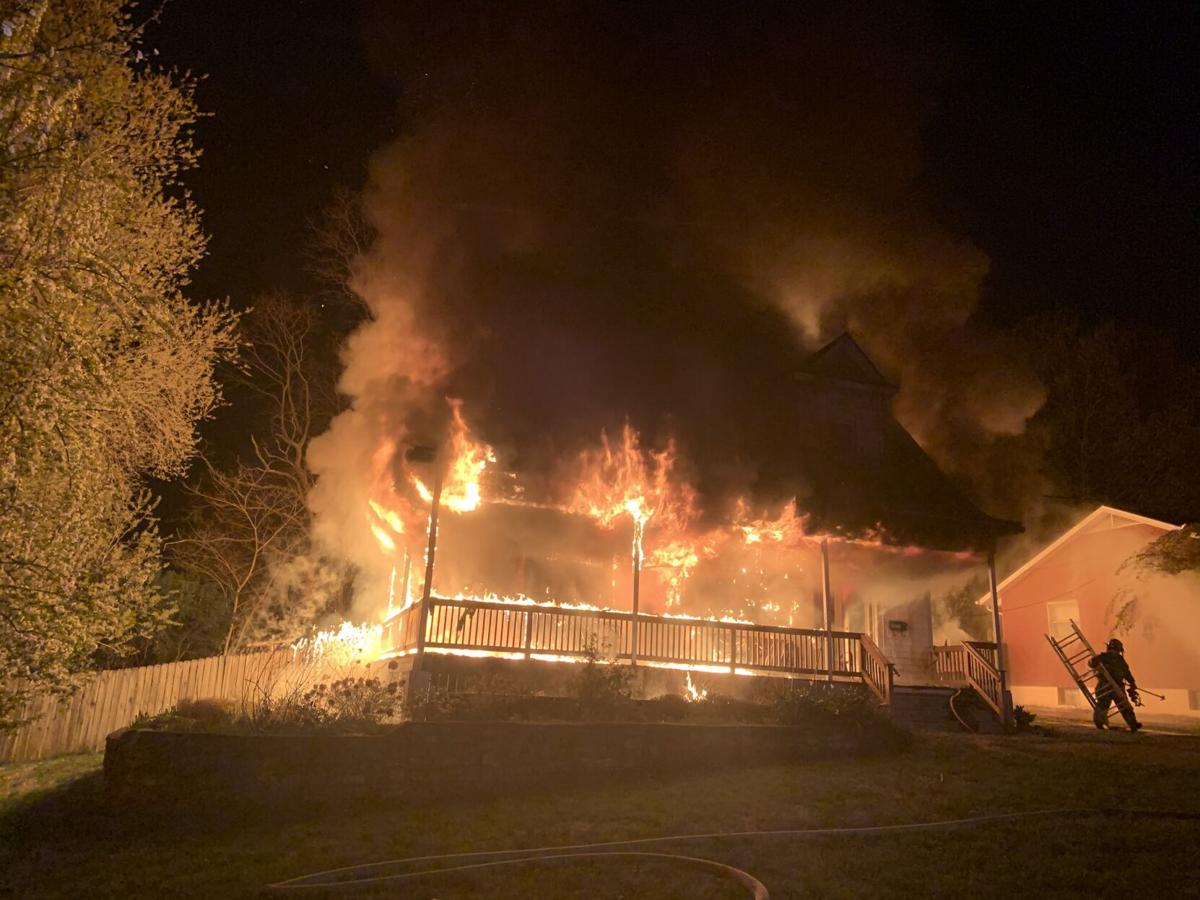 Flames from fire at home on Greenup Road