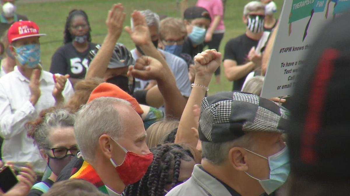 People gather at Tyler Park for march to downtown Louisville 10-10-20