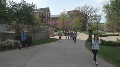 UK students walking across campus