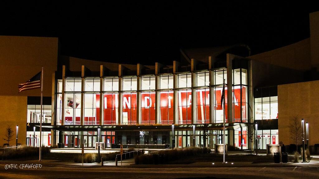 Exterior of Indiana University (IU) Assembly Hall arena