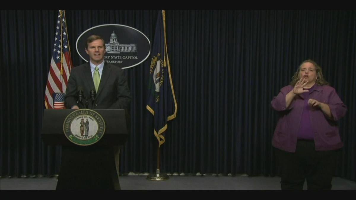 Kentucky Gov. Andy Beshear speaks during April 12 COVID-19 briefing