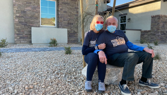 Dennis and Diane Reynolds outside home