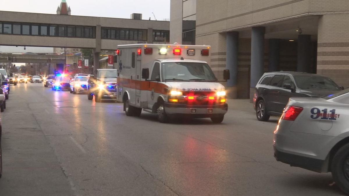 Ambulance / police escort after boy hit by vehicle in Sellersburg - Dec. 3, 2019