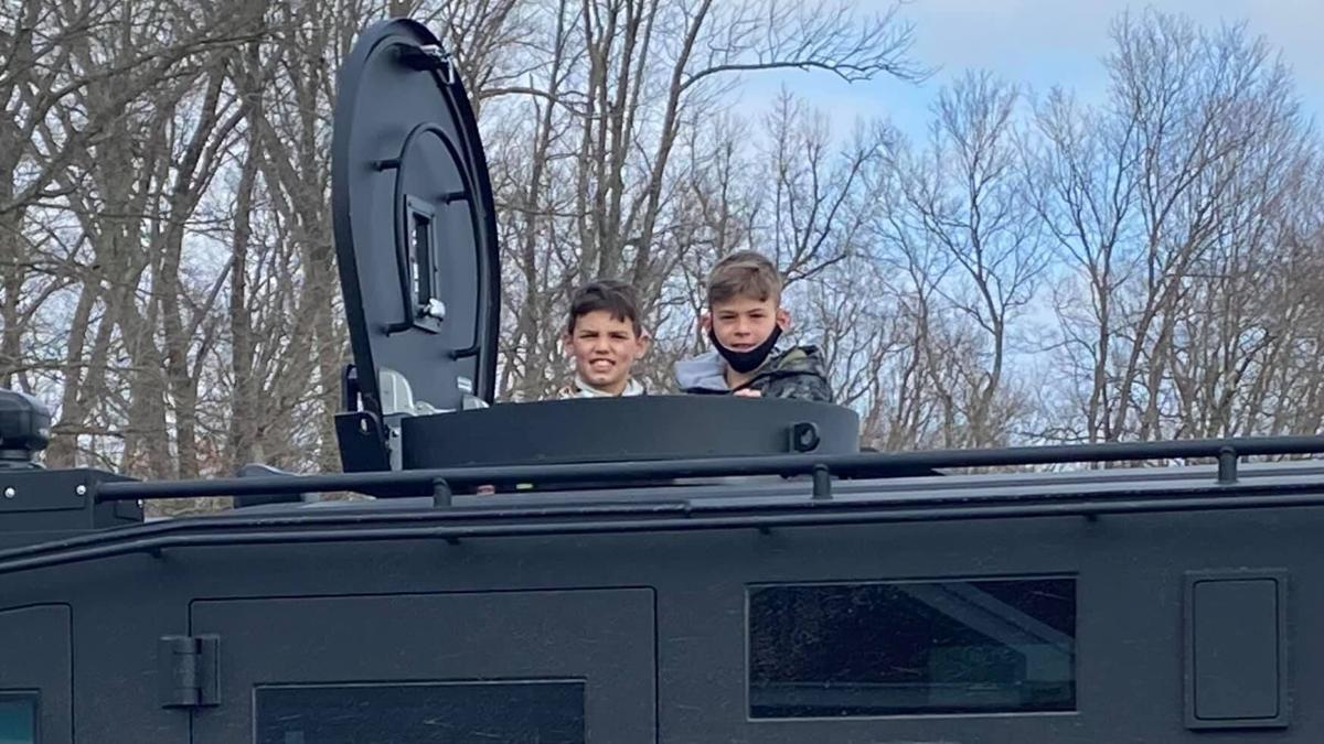 Southern Indiana students get ride home from school in armored SWAT vehicle (Feb. 2021)