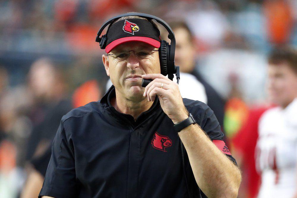 Louisville head coach Scott Satterfield grimaces