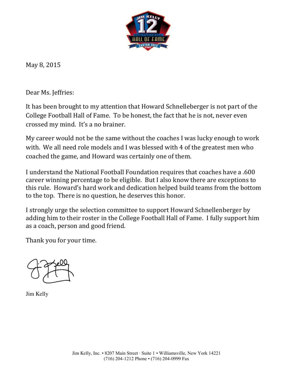 Jim Kelly's letter pushing for Howard Schnellenberger's Hall of Fame nomination