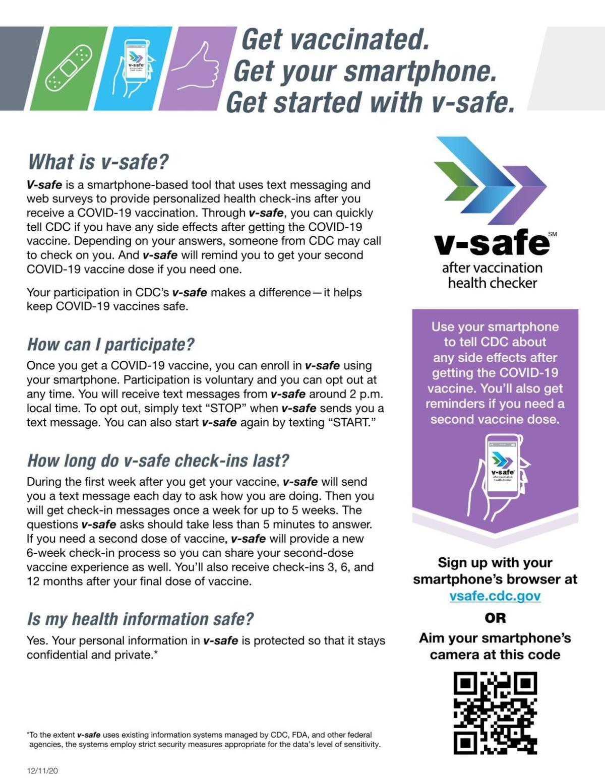 CDC flyer for V-safe app