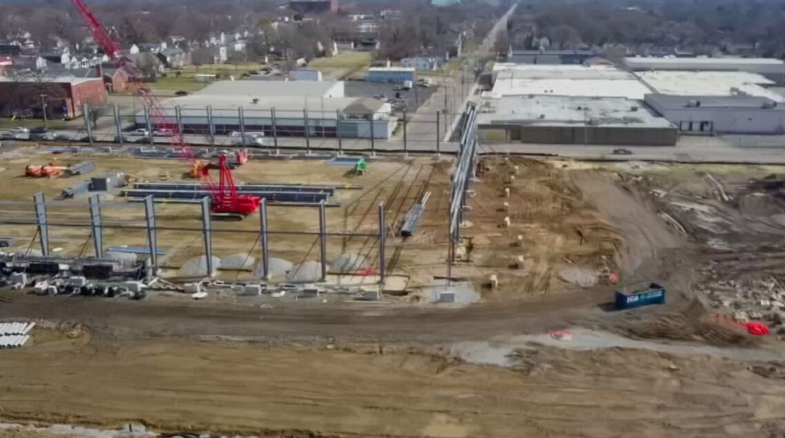 Aerial view of Urban League Sports and Learning Complex construction