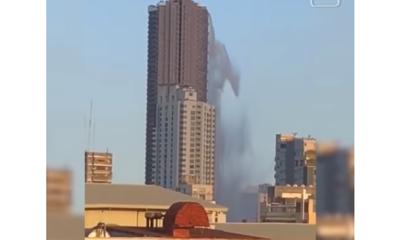 AN EARTHQUAKE Turns Rooftop Pool Into Waterfall...