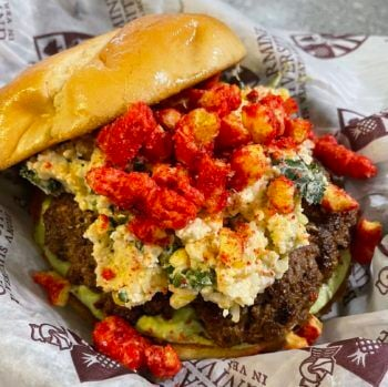 The Elote (Mexican Street Corn) Burger by Timothy Armistead of Louisville