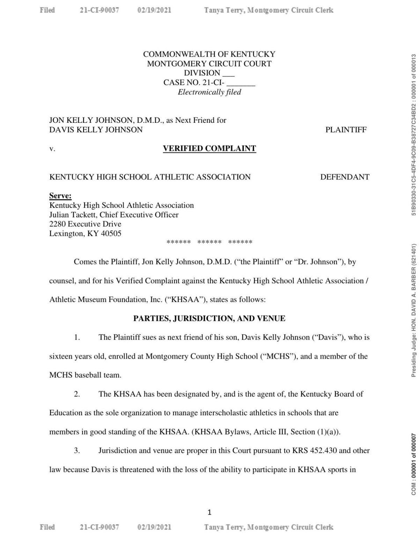 Jon Kelly Johnson vs. KHSAA lawsuit