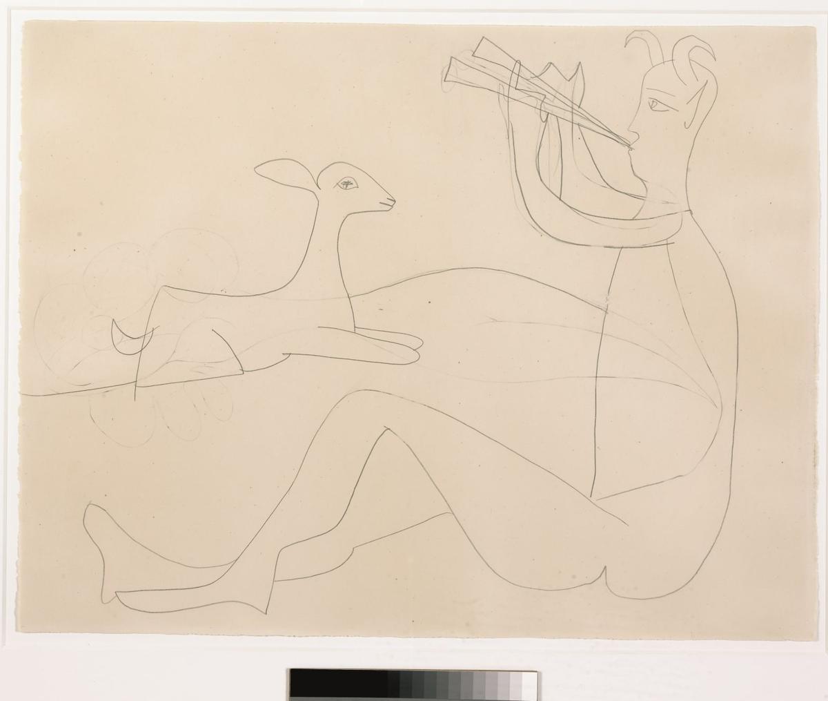 Pablo Picasso Faune assis jouant de la diaule et chevreau allongé.jpg