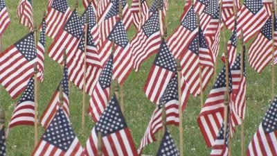 Volunteers place thousands of flags on Waterfront's Great Lawn for 4th of July