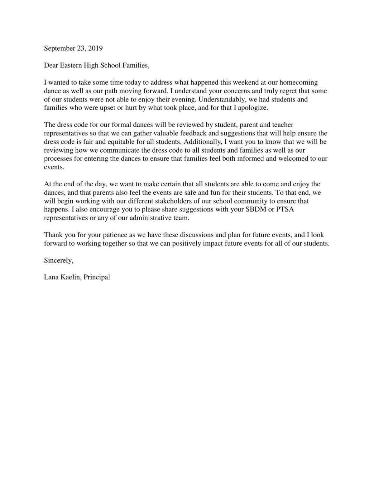 Eastern High School Principal Lana Kaelin letter to parents about dress code 9-23-19.pdf
